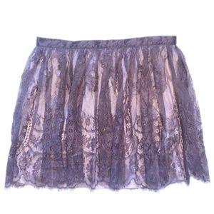 NWOT Mauve Lace and Blush Satin Mini Skirt